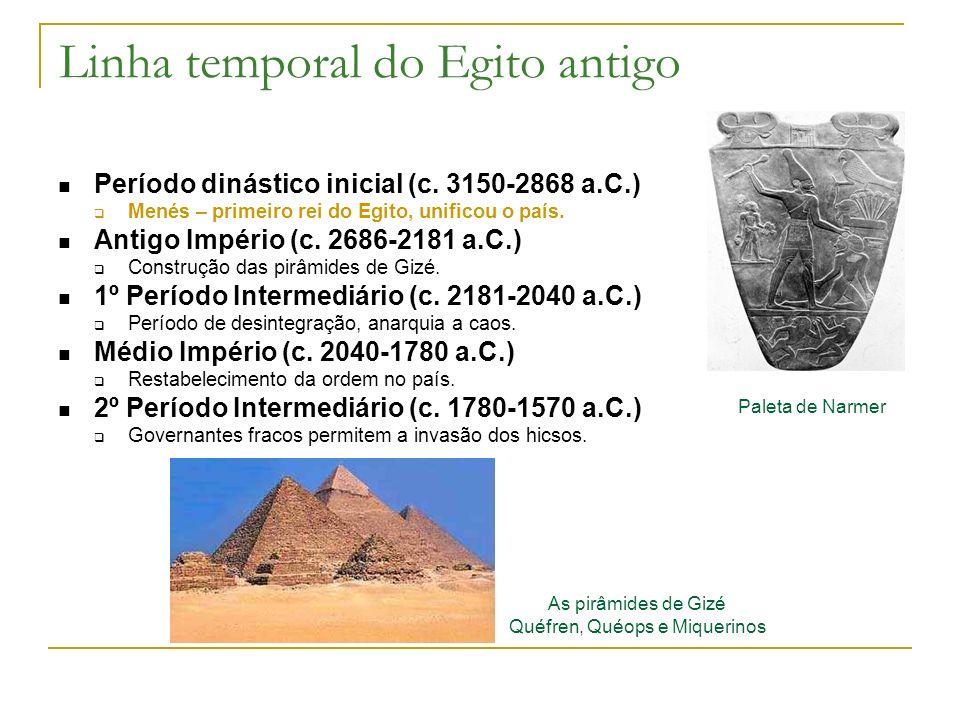 Linha temporal do Egito antigo Período dinástico inicial (c. 3150-2868 a.C.) Menés – primeiro rei do Egito, unificou o país. Antigo Império (c. 2686-2