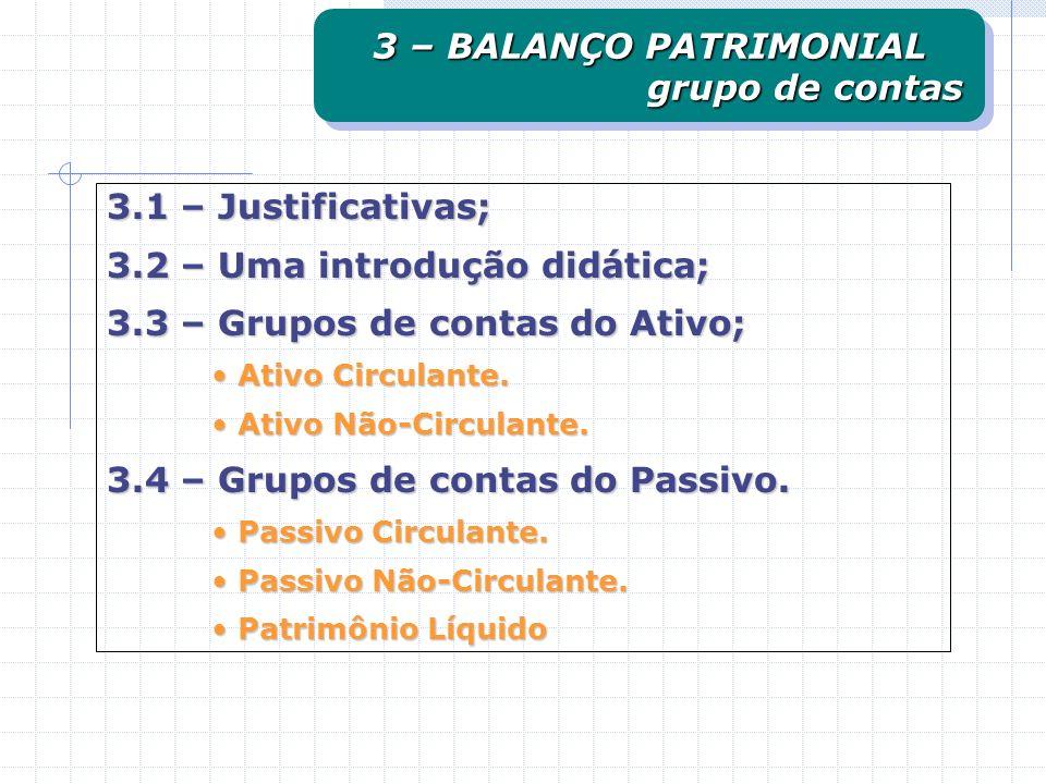 3.1 – Justificativas; 3.2 – Uma introdução didática; 3.3 – Grupos de contas do Ativo; Ativo Circulante. Ativo Circulante. Ativo Não-Circulante. Ativo