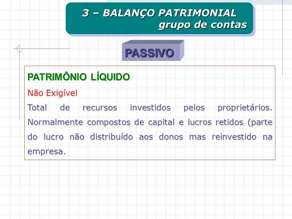 PASSIVO PATRIMÔNIO LÍQUIDO Não Exigível Total de recursos investidos pelos proprietários. Normalmente compostos de capital e lucros retidos (parte do