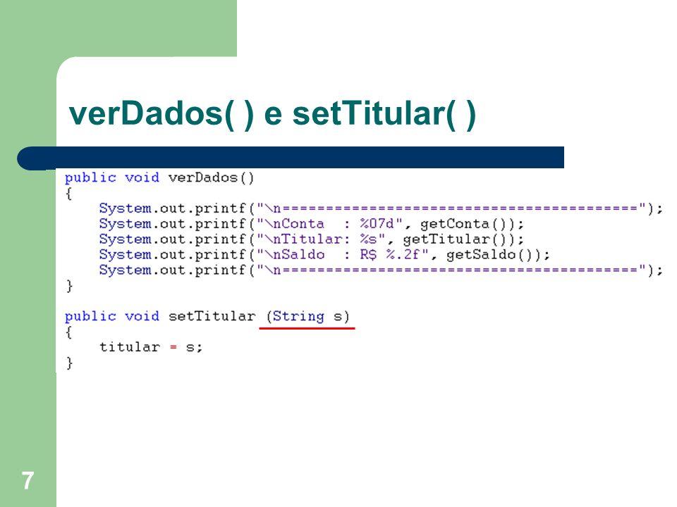 28 Teste Classe Data public class TesteData { public static void main (String args[]) { Data data1, data2, data3; data1 = new Data(27, 04, 2009); data2 = new Data(2008); data3 = new Data(6, 2012); System.out.println( Hoje é + data1.toString() + ingressei no segundo semestre de + data2.getAno() + e me formarei em + data3.getMes()+/+data3.getAno()); }