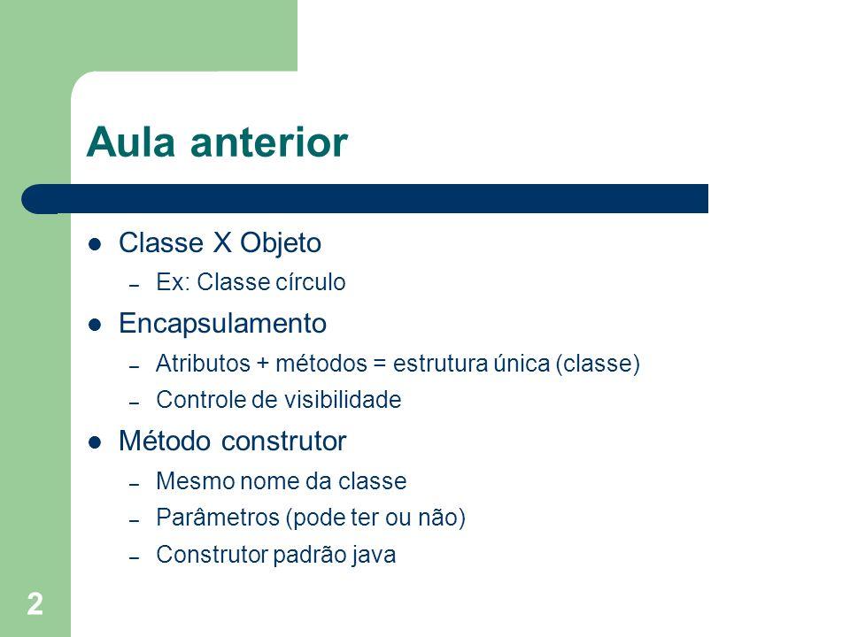 2 Aula anterior Classe X Objeto – Ex: Classe círculo Encapsulamento – Atributos + métodos = estrutura única (classe) – Controle de visibilidade Método