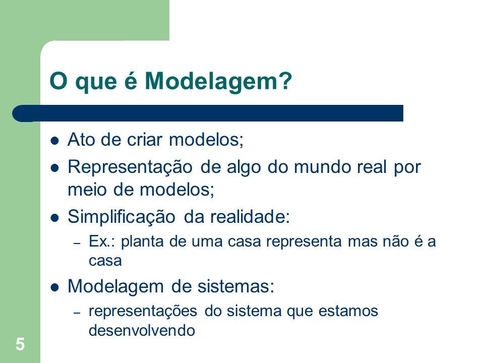 5 O que é Modelagem? Ato de criar modelos; Representação de algo do mundo real por meio de modelos; Simplificação da realidade: – Ex.: planta de uma c