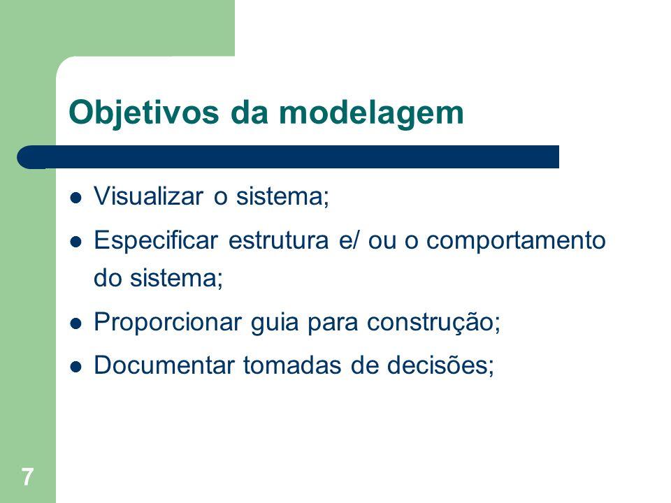 7 Objetivos da modelagem Visualizar o sistema; Especificar estrutura e/ ou o comportamento do sistema; Proporcionar guia para construção; Documentar t