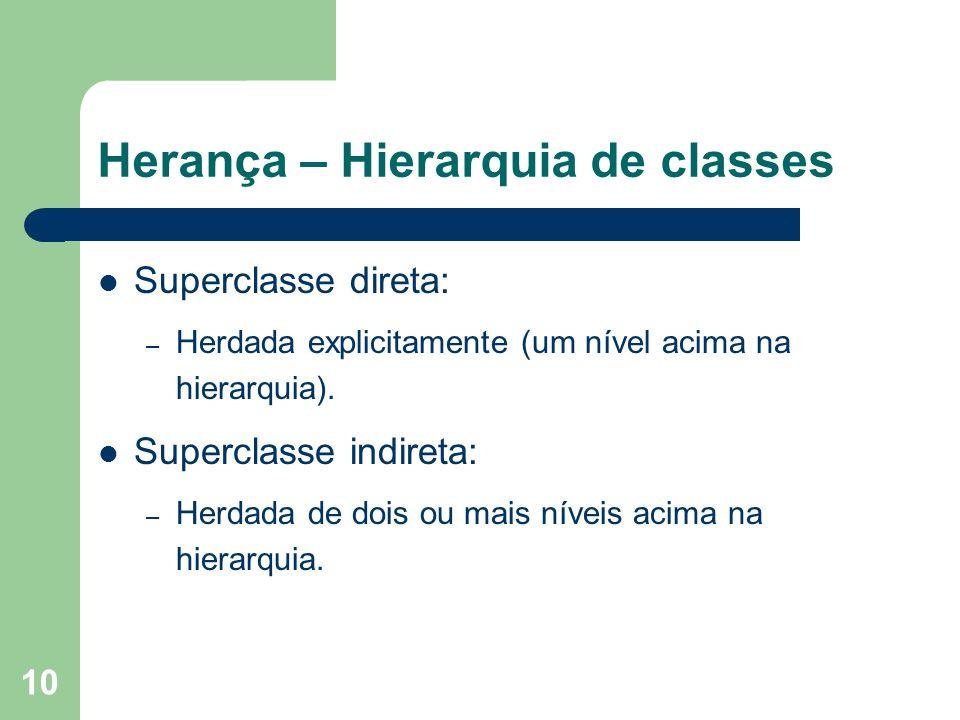 10 Herança – Hierarquia de classes Superclasse direta: – Herdada explicitamente (um nível acima na hierarquia). Superclasse indireta: – Herdada de doi