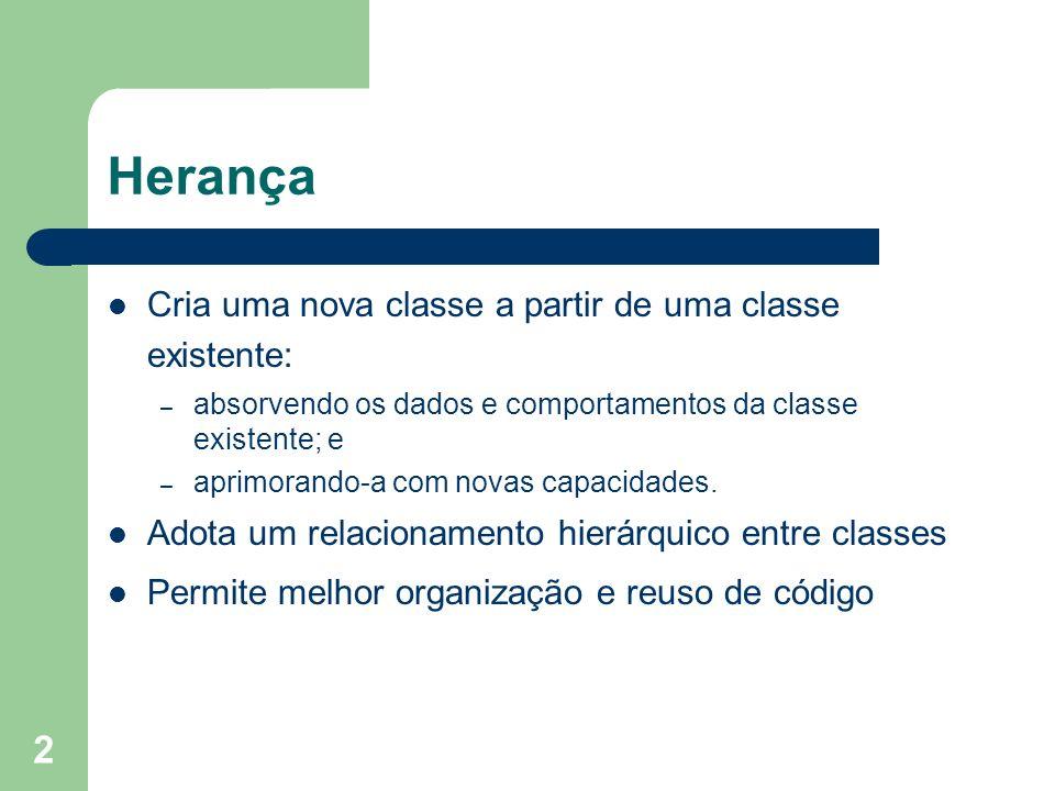 2 Herança Cria uma nova classe a partir de uma classe existente: – absorvendo os dados e comportamentos da classe existente; e – aprimorando-a com nov