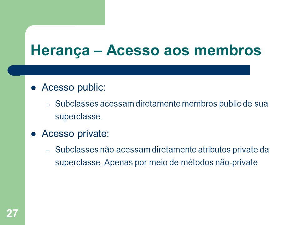 27 Herança – Acesso aos membros Acesso public: – Subclasses acessam diretamente membros public de sua superclasse. Acesso private: – Subclasses não ac