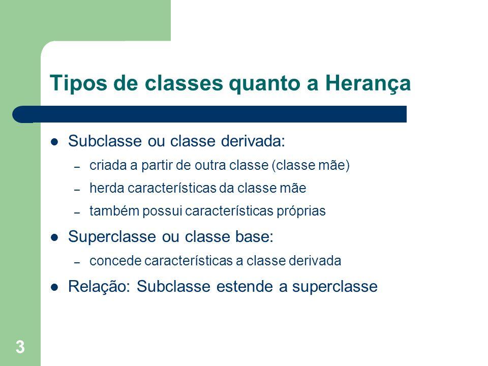 3 Tipos de classes quanto a Herança Subclasse ou classe derivada: – criada a partir de outra classe (classe mãe) – herda características da classe mãe