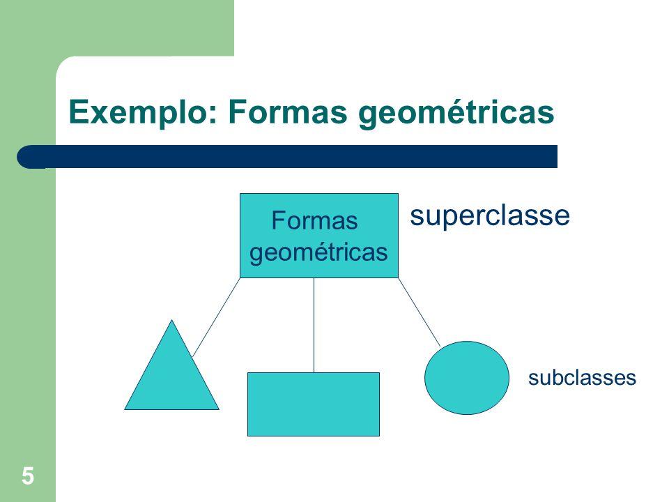 5 Exemplo: Formas geométricas Formas geométricas superclasse subclasses