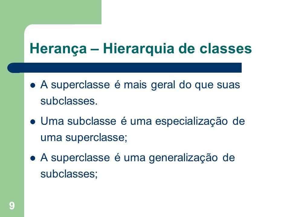 9 Herança – Hierarquia de classes A superclasse é mais geral do que suas subclasses. Uma subclasse é uma especialização de uma superclasse; A supercla