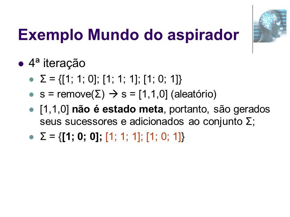 Exemplo Mundo do aspirador 4ª iteração Σ = {[1; 1; 0]; [1; 1; 1]; [1; 0; 1]} s = remove(Σ) s = [1,1,0] (aleatório) [1,1,0] não é estado meta, portanto