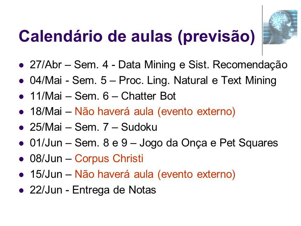 Calendário de aulas (previsão) 27/Abr – Sem. 4 - Data Mining e Sist. Recomendação 04/Mai - Sem. 5 – Proc. Ling. Natural e Text Mining 11/Mai – Sem. 6
