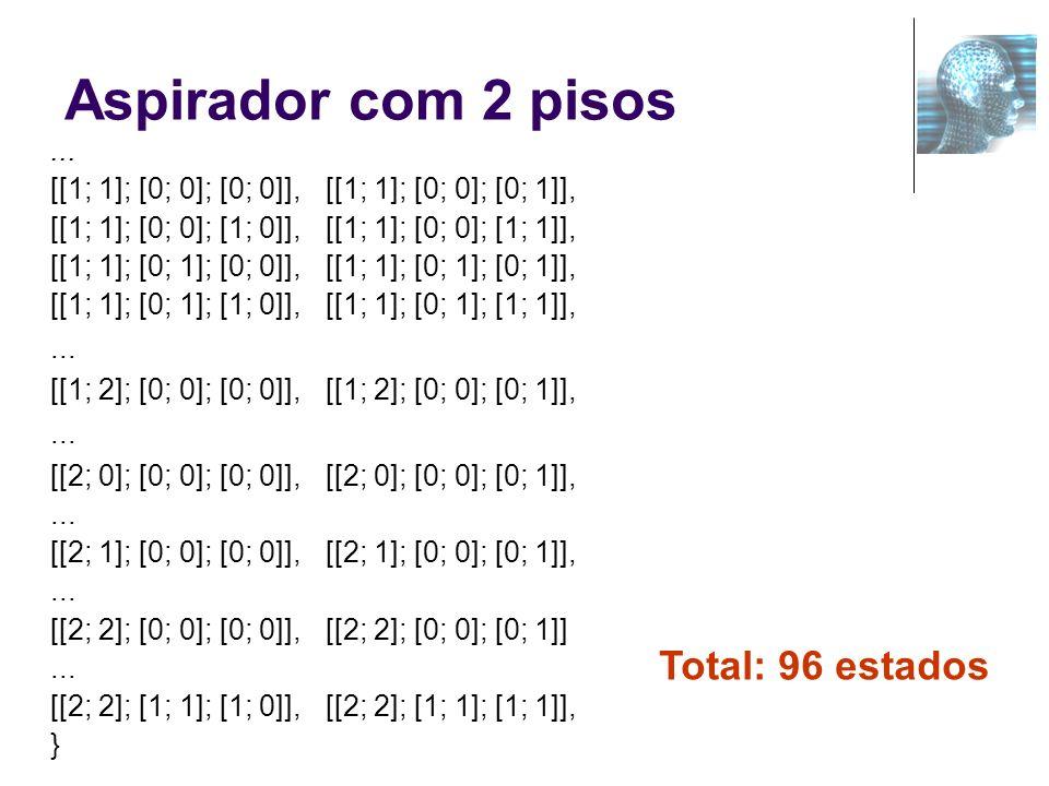 Aspirador com 2 pisos... [[1; 1]; [0; 0]; [0; 0]],[[1; 1]; [0; 0]; [0; 1]], [[1; 1]; [0; 0]; [1; 0]],[[1; 1]; [0; 0]; [1; 1]], [[1; 1]; [0; 1]; [0; 0]