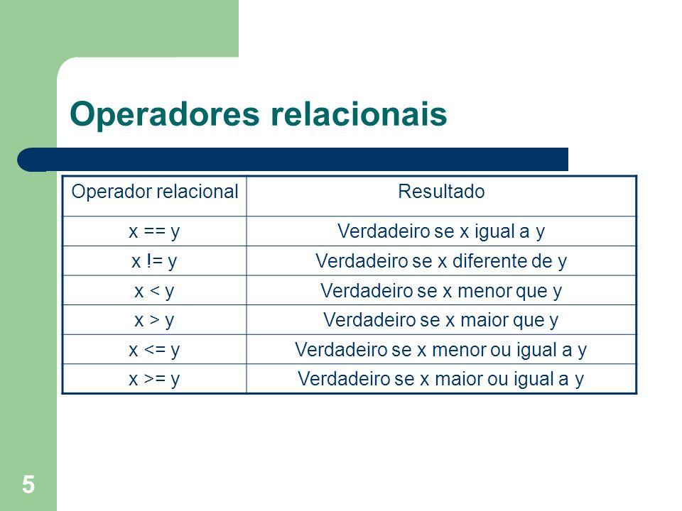 5 Operadores relacionais Operador relacionalResultado x == yVerdadeiro se x igual a y x != yVerdadeiro se x diferente de y x < yVerdadeiro se x menor