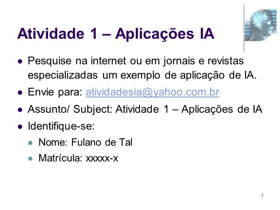Atividade 1 – Aplicações IA Pesquise na internet ou em jornais e revistas especializadas um exemplo de aplicação de IA. Envie para: atividadesia@yahoo
