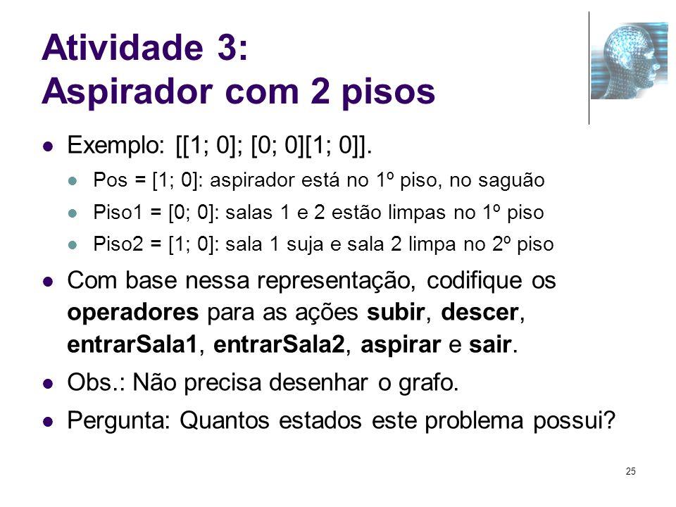 Atividade 3: Aspirador com 2 pisos Exemplo: [[1; 0]; [0; 0][1; 0]]. Pos = [1; 0]: aspirador está no 1º piso, no saguão Piso1 = [0; 0]: salas 1 e 2 est