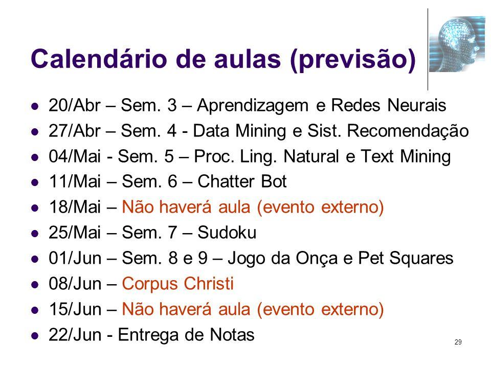 Calendário de aulas (previsão) 20/Abr – Sem. 3 – Aprendizagem e Redes Neurais 27/Abr – Sem. 4 - Data Mining e Sist. Recomendação 04/Mai - Sem. 5 – Pro
