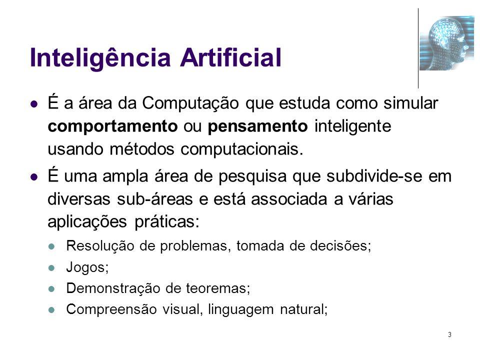 Inteligência Artificial É a área da Computação que estuda como simular comportamento ou pensamento inteligente usando métodos computacionais. É uma am