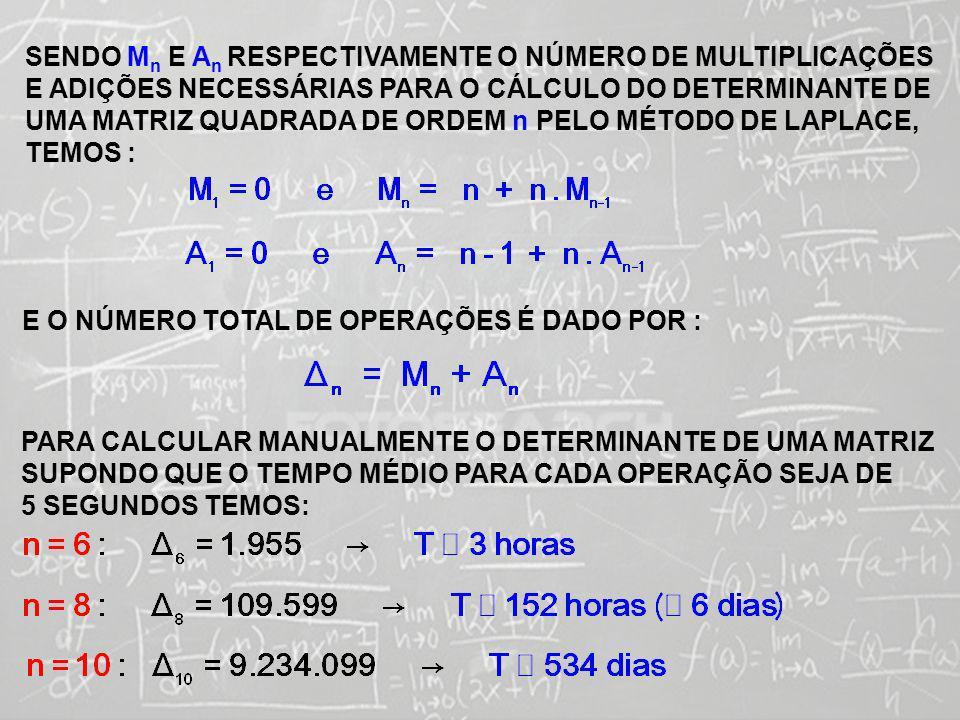 SISTEMAS LINEARES ( 1ª AULA) VAMOS AGORA CALCULAR O ESFORÇO COMPUTACIONAL ENVOLVIDO NO CÁLCULO DO DETERMINANTE DE UMA MATRIZ QUADRADA DE ORDEM n COM O AUXÍLIO DE UM COMPUTADOR 1984: UTILIZANDO UM COMPUTADOR IBM370 (MODELO 158) O TEMPO PARA REALIZAR UMA ADIÇÃO ERA DE 0,9.