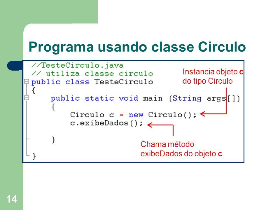 14 Programa usando classe Circulo Instancia objeto c do tipo Circulo Chama método exibeDados do objeto c