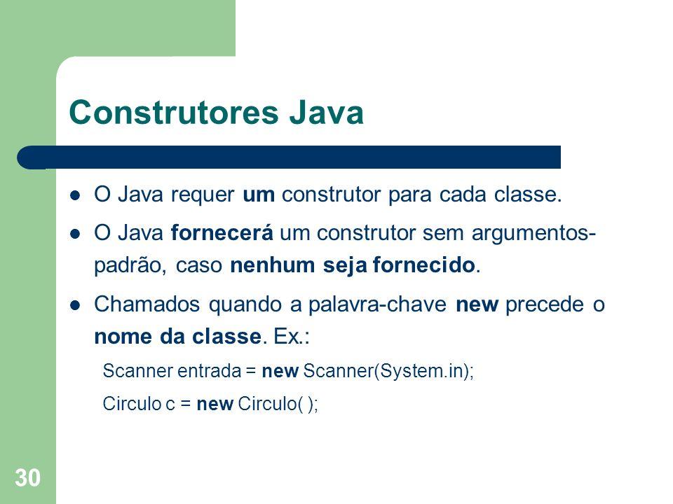 30 Construtores Java O Java requer um construtor para cada classe. O Java fornecerá um construtor sem argumentos- padrão, caso nenhum seja fornecido.