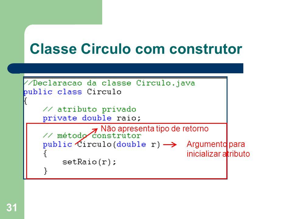 31 Classe Circulo com construtor Não apresenta tipo de retorno Argumento para inicializar atributo