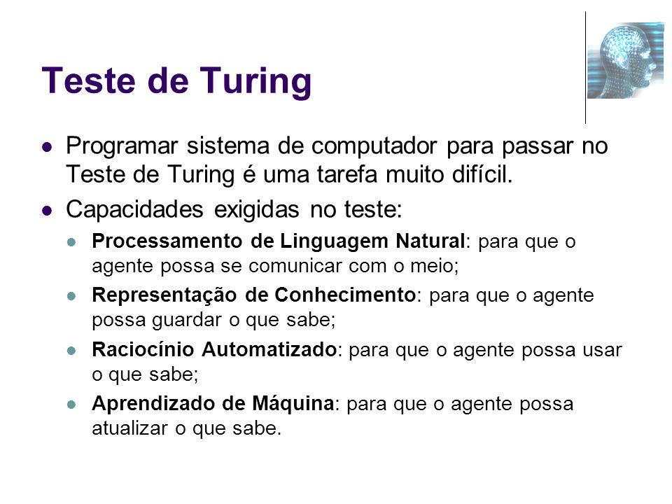 Teste de Turing Programar sistema de computador para passar no Teste de Turing é uma tarefa muito difícil. Capacidades exigidas no teste: Processament