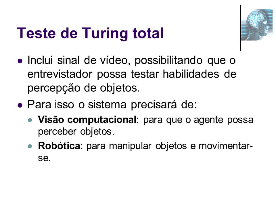 Teste de Turing total Inclui sinal de vídeo, possibilitando que o entrevistador possa testar habilidades de percepção de objetos. Para isso o sistema