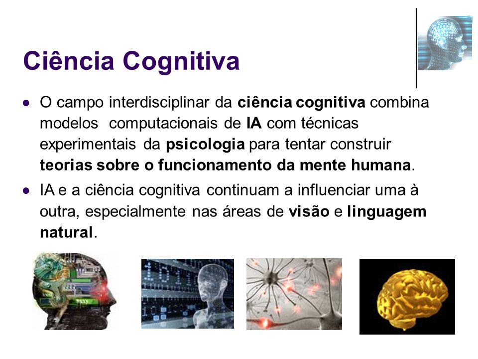 Ciência Cognitiva O campo interdisciplinar da ciência cognitiva combina modelos computacionais de IA com técnicas experimentais da psicologia para ten