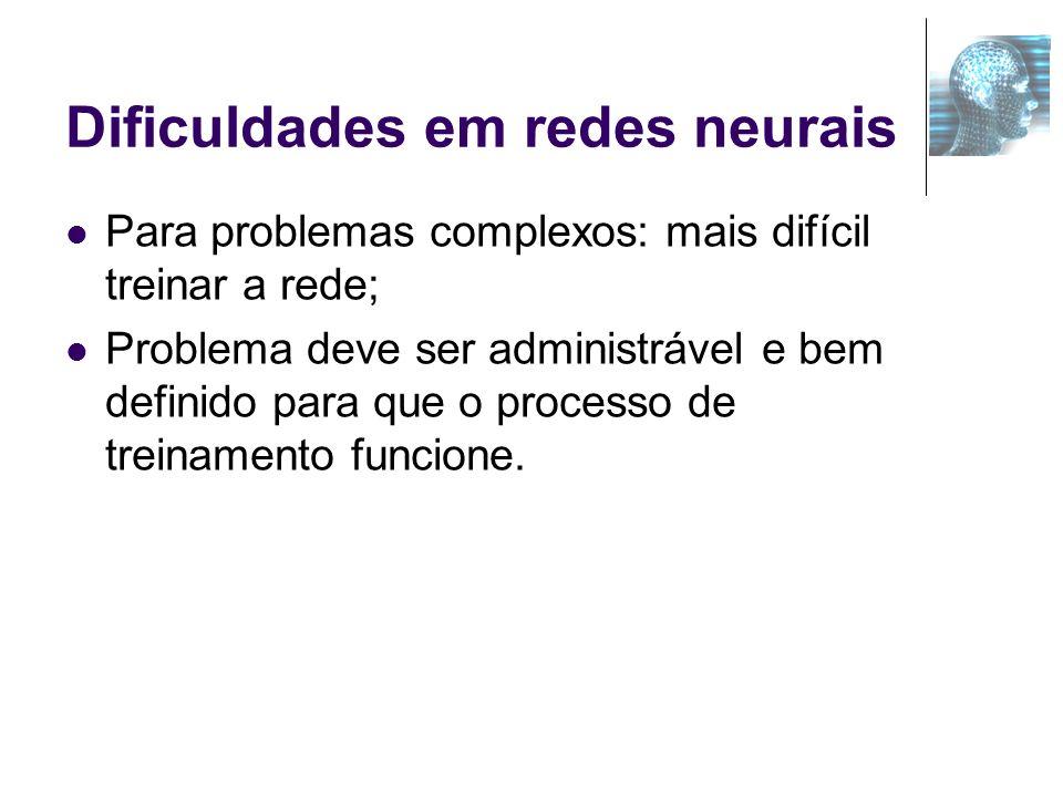 Dificuldades em redes neurais Para problemas complexos: mais difícil treinar a rede; Problema deve ser administrável e bem definido para que o process