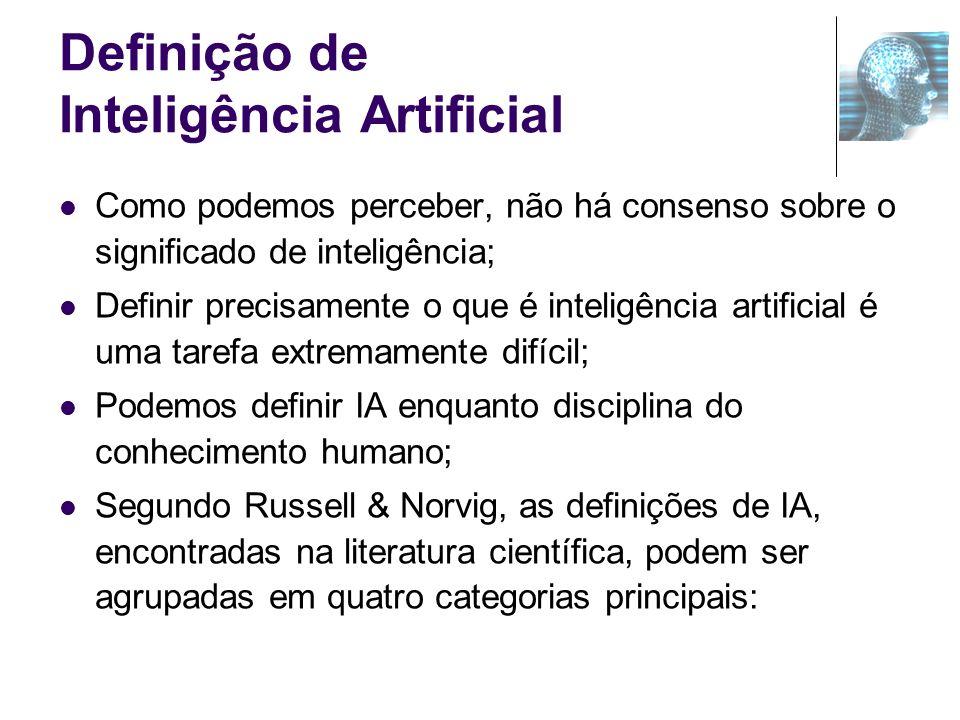 Definição de Inteligência Artificial Como podemos perceber, não há consenso sobre o significado de inteligência; Definir precisamente o que é inteligê