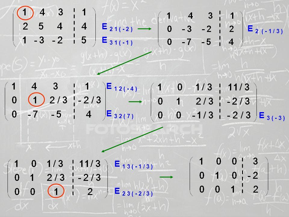 SISTEMAS LINEARES ( 1ª AULA) E 2 1 ( - 2 ) E 3 1 ( - 1 ) E 2 ( - 1 / 3 ) E 1 2 ( - 4 ) E 3 2 ( 7 ) E 3 ( - 3 ) E 1 3 ( - 1 / 3 ) E 2 3 ( - 2 / 3 )