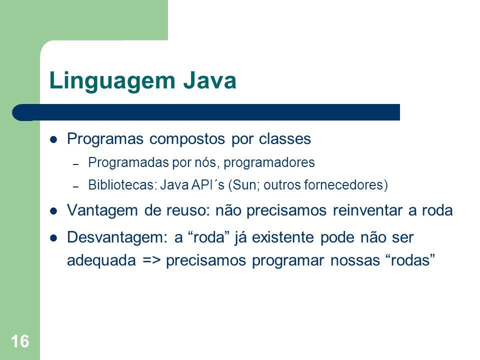 16 Linguagem Java Programas compostos por classes – Programadas por nós, programadores – Bibliotecas: Java API´s (Sun; outros fornecedores) Vantagem d