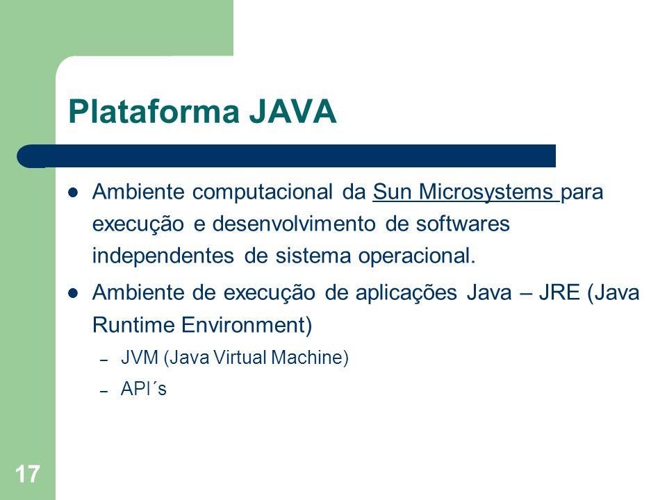 17 Plataforma JAVA Ambiente computacional da Sun Microsystems para execução e desenvolvimento de softwares independentes de sistema operacional.Sun Mi