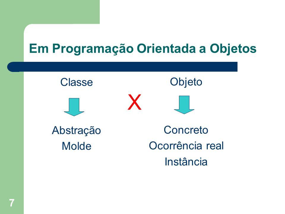 7 Em Programação Orientada a Objetos Classe Abstração Molde Objeto Concreto Ocorrência real Instância X