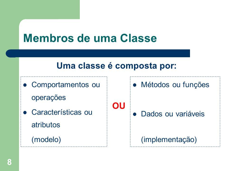 8 Membros de uma Classe Uma classe é composta por: Comportamentos ou operações Características ou atributos (modelo) Métodos ou funções Dados ou variá