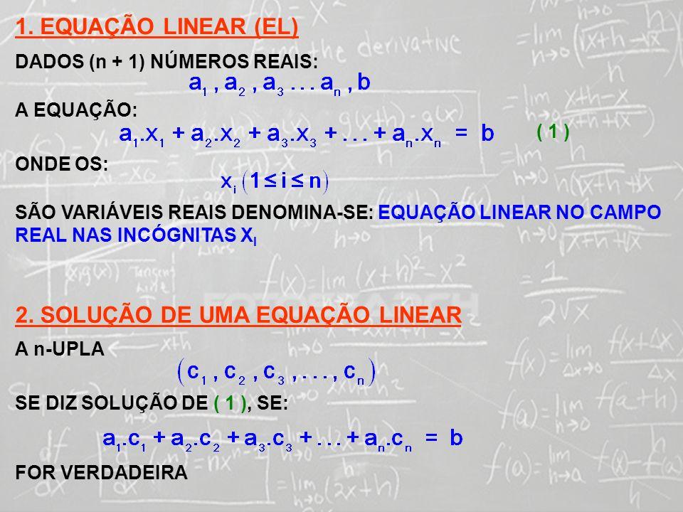 SISTEMAS LINEARES ( 1ª AULA) 1. EQUAÇÃO LINEAR (EL) DADOS (n + 1) NÚMEROS REAIS: A EQUAÇÃO: ( 1 ) ONDE OS: SÃO VARIÁVEIS REAIS DENOMINA-SE: EQUAÇÃO LI