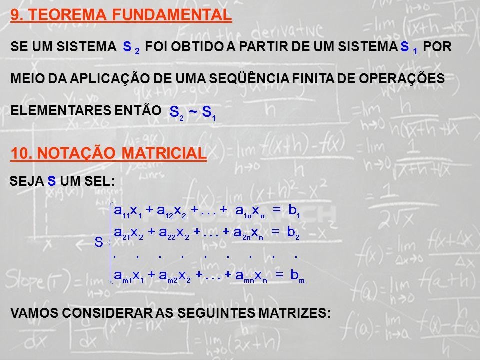 SISTEMAS LINEARES ( 1ª AULA) MATRIZ DOS COEFICIENTES DE S MATRIZ DAS CONSTANTES DE S MATRIZ DAS INCÓGNITAS DE S AGORA, TENDO EM VISTA QUE:.