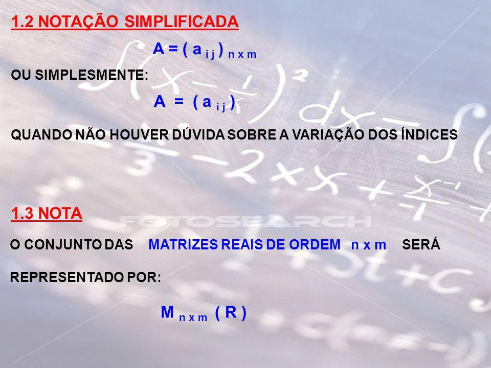 1.2 NOTAÇÃO SIMPLIFICADA OU SIMPLESMENTE: QUANDO NÃO HOUVER DÚVIDA SOBRE A VARIAÇÃO DOS ÍNDICES 1.3 NOTA O CONJUNTO DAS MATRIZES REAIS DE ORDEM n x m