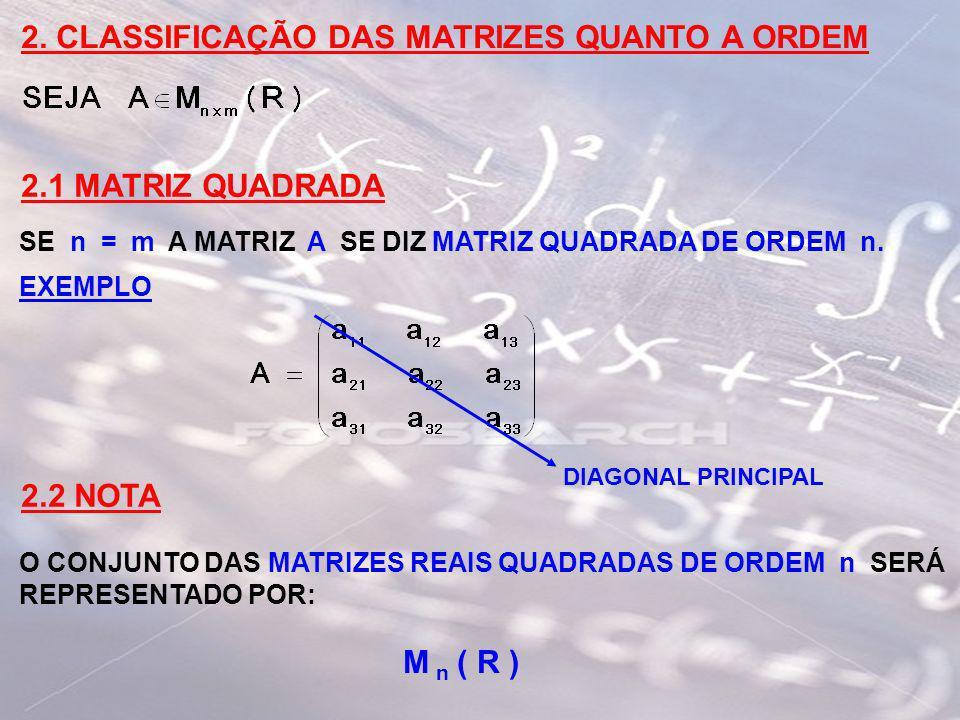 2. CLASSIFICAÇÃO DAS MATRIZES QUANTO A ORDEM 2.1 MATRIZ QUADRADA SE n = m A MATRIZ A SE DIZ MATRIZ QUADRADA DE ORDEM n. EXEMPLO DIAGONAL PRINCIPAL 2.2
