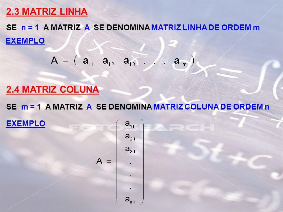 2.3 MATRIZ LINHA SE n = 1 A MATRIZ A SE DENOMINA MATRIZ LINHA DE ORDEM m EXEMPLO 2.4 MATRIZ COLUNA SE m = 1 A MATRIZ A SE DENOMINA MATRIZ COLUNA DE OR