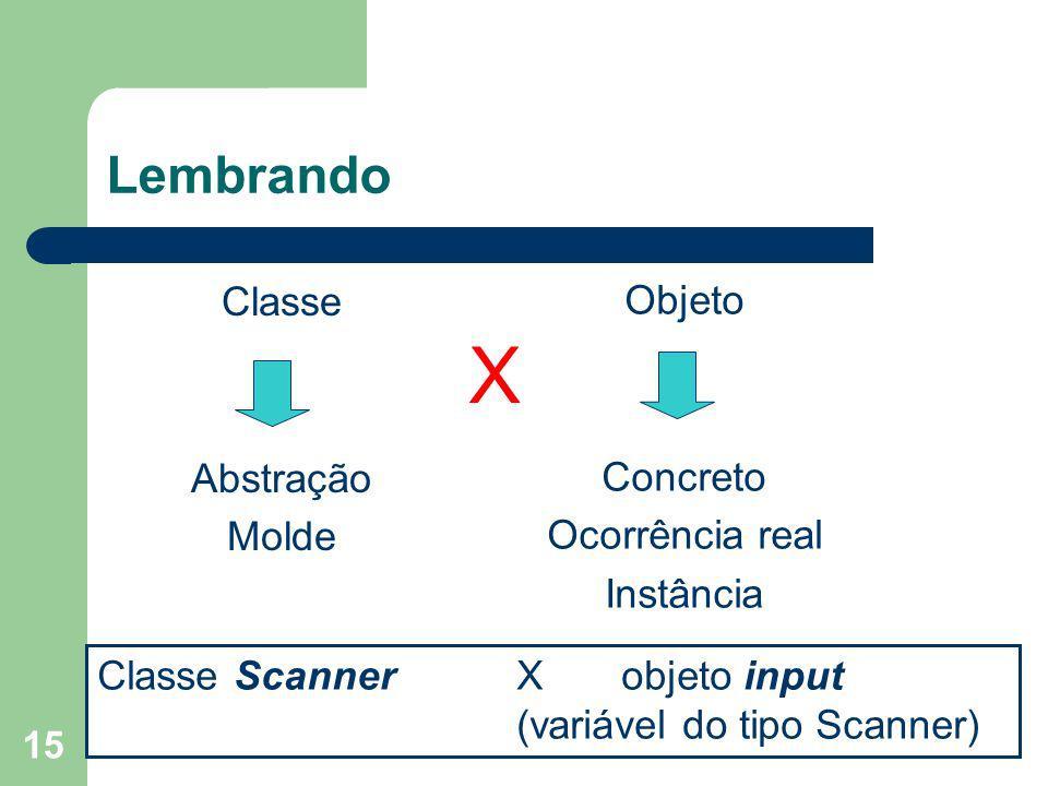 15 Lembrando Classe Abstração Molde Objeto Concreto Ocorrência real Instância X Classe Scanner X objeto input (variável do tipo Scanner)