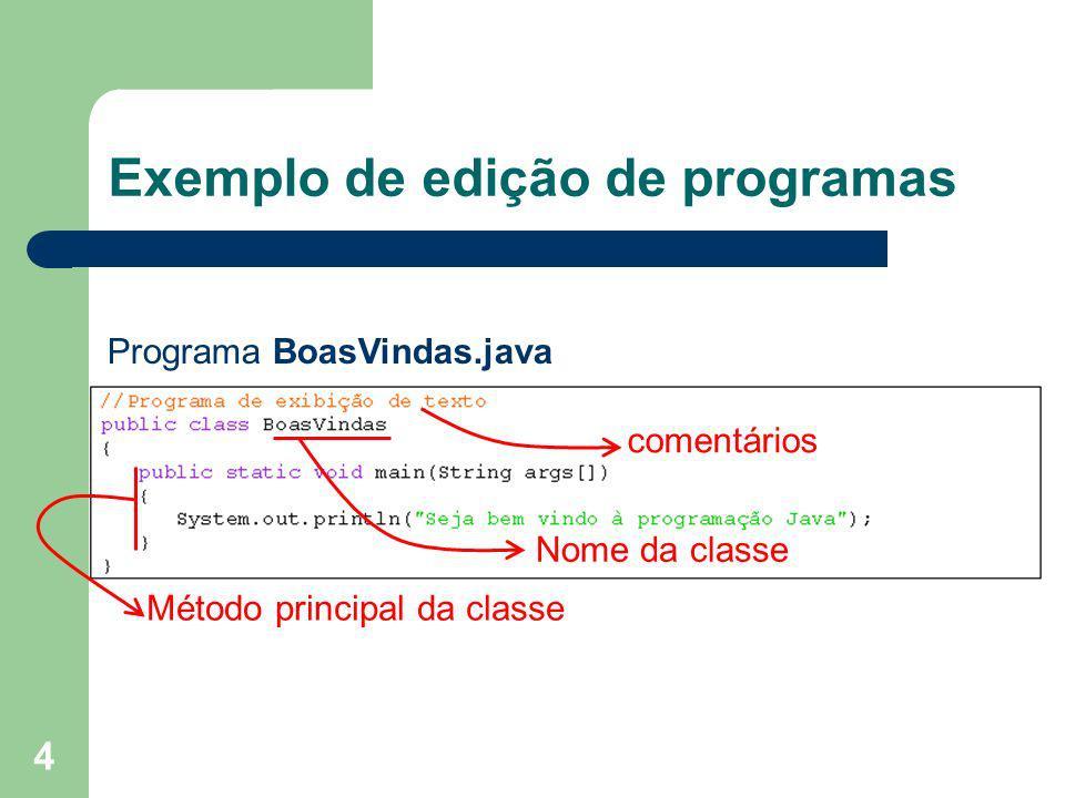 4 Exemplo de edição de programas comentários Nome da classe Método principal da classe Programa BoasVindas.java
