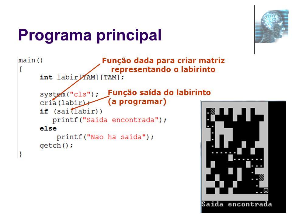 17 Programa principal Função dada para criar matriz representando o labirinto Função saída do labirinto (a programar)