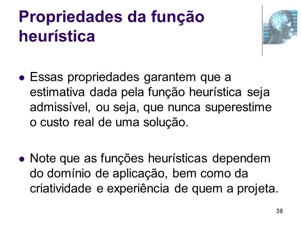 38 Propriedades da função heurística Essas propriedades garantem que a estimativa dada pela função heurística seja admissível, ou seja, que nunca supe
