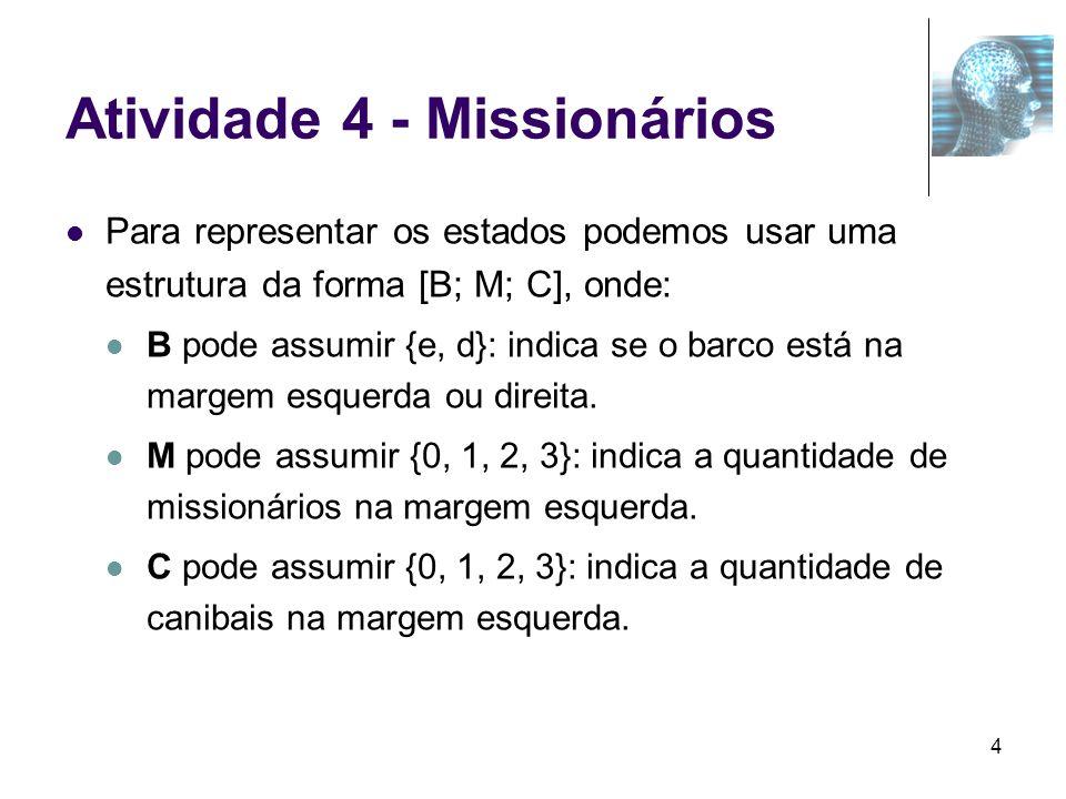 5 Missionários e Canibais – Conjunto de Ações A = { oper(atravessar1C; [e; 3; C]; [d; 3; C-1])C > 0, oper(atravessar1C; [d; M; C]; [e; M; C+1]) C C, oper(atravessar1M; [e; M; C]; [d; M-1; C])M > 0, M > C, oper(atravessar1M; [d; M; C]; [e; M+1; C])M < 3, C < 2, oper(atravessar1M1C; [e; M; C]; [d; M-1; C-1])M > 0, C > 0, M = C, oper(atravessar1M1C; [d; M; C]; [e; M+1; C+1]) M < 3, C < 3, M = C,...
