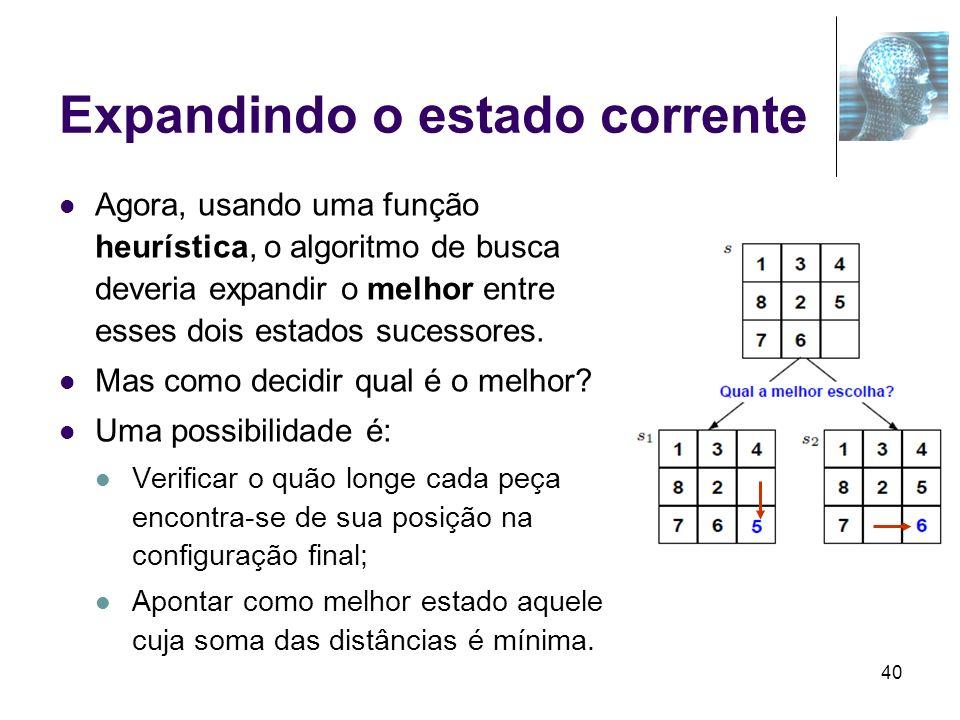 40 Expandindo o estado corrente Agora, usando uma função heurística, o algoritmo de busca deveria expandir o melhor entre esses dois estados sucessore