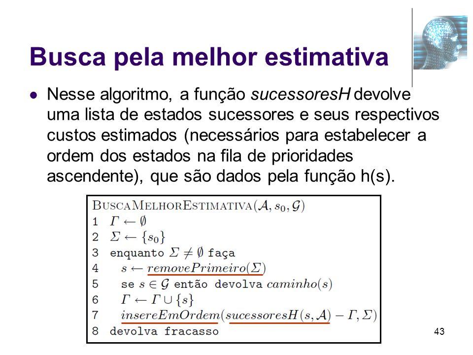 43 Busca pela melhor estimativa Nesse algoritmo, a função sucessoresH devolve uma lista de estados sucessores e seus respectivos custos estimados (nec