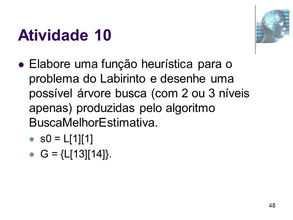 48 Atividade 10 Elabore uma função heurística para o problema do Labirinto e desenhe uma possível árvore busca (com 2 ou 3 níveis apenas) produzidas p