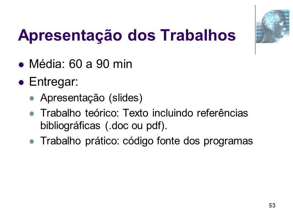 53 Apresentação dos Trabalhos Média: 60 a 90 min Entregar: Apresentação (slides) Trabalho teórico: Texto incluindo referências bibliográficas (.doc ou