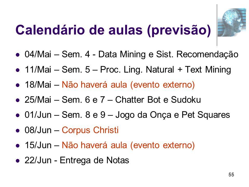 55 Calendário de aulas (previsão) 04/Mai – Sem. 4 - Data Mining e Sist. Recomendação 11/Mai – Sem. 5 – Proc. Ling. Natural + Text Mining 18/Mai – Não